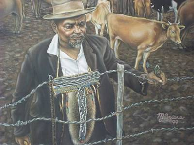 Cattle And African Rancher Art Print
