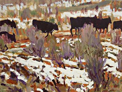 Cattle Roundup Painting - Cattle by Brian Simons