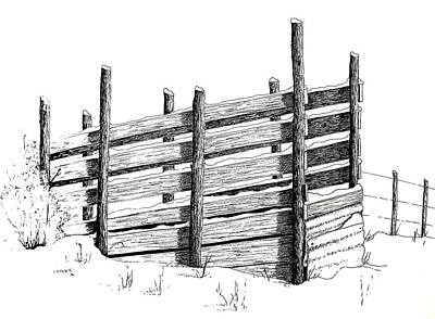 Cattle Chute Ink Art Print