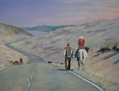 Horse Pastels Painting - Cattle Drive by Christopher Reid