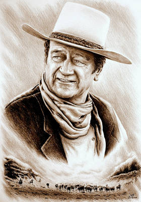 John Wayne Drawings Drawing - Cattle Drive Sepia Soft by Andrew Read