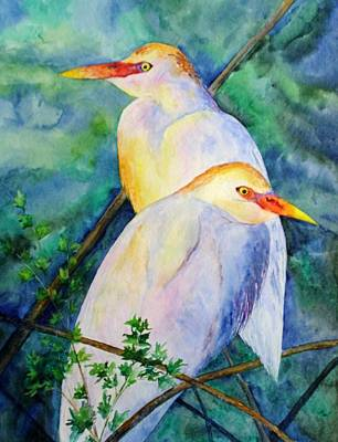 Cattle Egret Painting - Cattle Egrets by Patricia Beebe