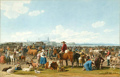 Cattle Market Before A Large City On A Lake Print by Wilhelm von Kobell