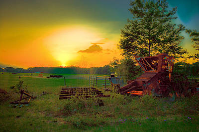 Photograph - Cattle Ranch Sundown by Lewis Mann