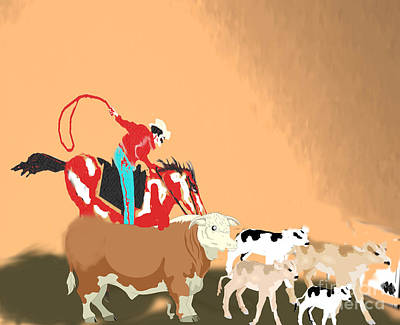 Painting - Cattle Herding by Belinda Threeths