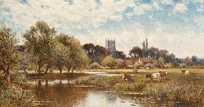 Peaceful Scene Painting - Cattle Watering by Alfred Augustus Glendening