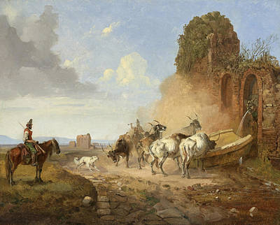 Cattle Watering At A Fountain On The Via Appia Antiqua Print by Heinrich Buerkel