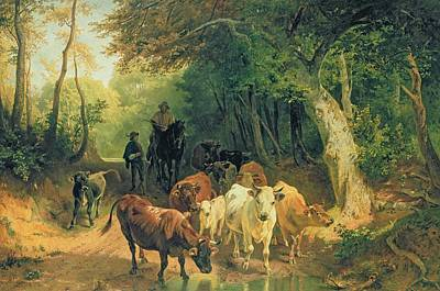 Hurdle Painting - Cattle Watering In A Wooded Landscape by Friedrich Johann Voltz