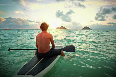 Photograph - Caucasian Man On Paddle Board In Ocean by Colin Anderson Productions Pty Ltd