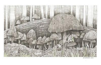 Wall Art - Drawing - Caught In The Rain by Paul Shafranski
