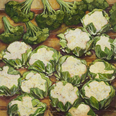 Broccoli Painting - Cauliflower March by Jen Norton