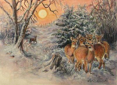 Missouri Whitetail Painting - Caution And Curiosity by Ursula Brozovich
