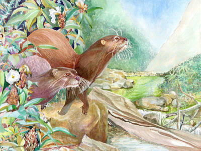 Sri Lankan Artist Painting - Cautious - Otters by Sasitha Weerasinghe