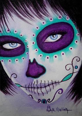 Make-up Girl Painting - Cautivado Por La Belleza Raven by Al  Molina