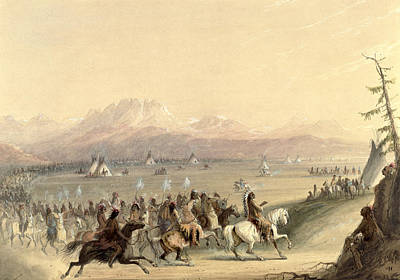 Mountain Painting - Cavalcade by Alfred Jacob Miller