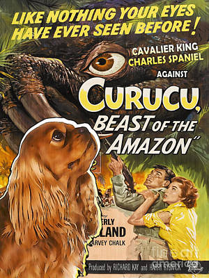 Cavalier King Charles Spaniel Art - Curucu Movie Poster Original