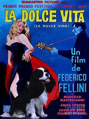 Cavalier King Charles Spaniel Art - La Dolce Vita Movie Poster Original