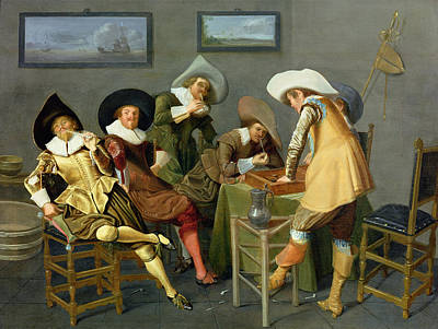 Backgammon Photograph - Cavaliers In A Tavern Oil On Canvas by Dirck Hals