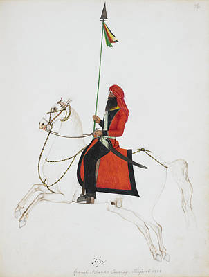 Pencil Work Photograph - Cavalryman Carrying A Lance With Pennant by British Library