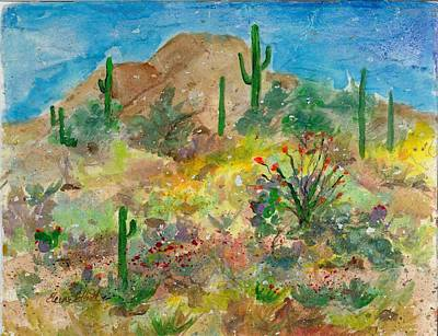 Art Print featuring the painting Cave Creek Ocotillo Bloom by Elaine Elliott