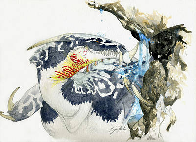 Dragon Painting - Cave Dragon by Morgan Banks
