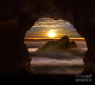 Walking In Tide Photograph - Cave Glow by Nigel Hatton