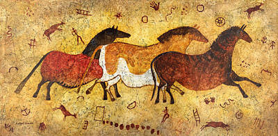 Anthropology Painting - Cave Horses by Hailey E Herrera