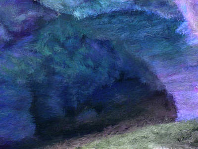 Purple Painting - Cave In The Moonlight by Bruce Nutting