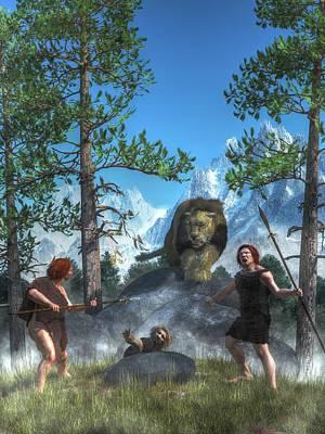 Archaeology Digital Art - Cave Lion Attack by Daniel Eskridge