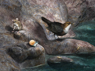 Cellar Painting - Cave Mouse And Friends by Gary Hanna