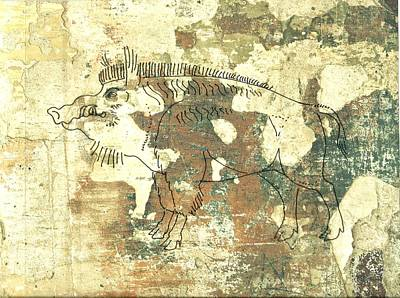 Razorback Drawing - Cave Painting 3 by Larry Campbell