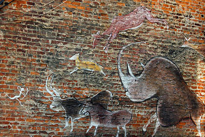 Photograph - Cave Painting On Brick by Suzanne Gaff