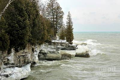 Nikki Vig Royalty-Free and Rights-Managed Images - Cave Point Wisconsin in Winter by Nikki Vig