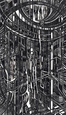 Abstraction Drawing - Cave by Serge Yudin
