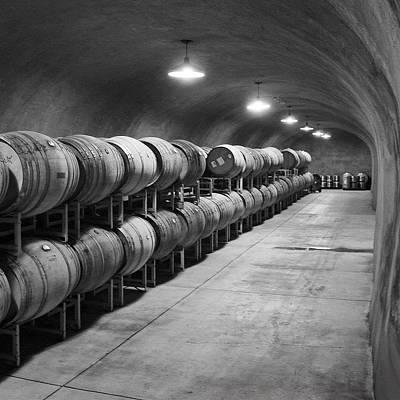 Cave Storage Of Wine Barrels Art Print by Kent Sorensen