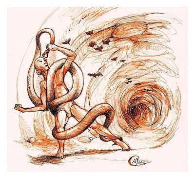 Python Drawing - Cave Wrestle by Libo Mahlati
