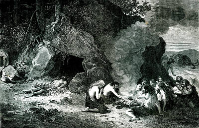 Early Human Photograph - Caveman Camp by Collection Abecasis