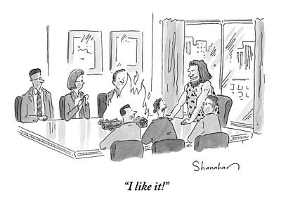 Cave Drawing - Caveman Stands At Head Of Table In Boardroom by Danny Shanahan