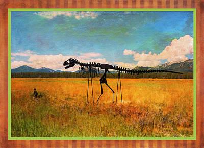 Digital Art - Caveman Walking Dino by Sandra Selle Rodriguez