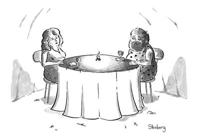 Wine Drawing - Cavemen On A Date With A Little Fire by Avi Steinberg