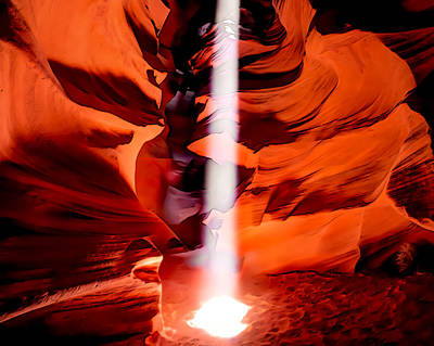 Lights In Tunnel Painting - Cavern Lights Artistic Style - Antelope Canyon - Arizona by Gregory Ballos