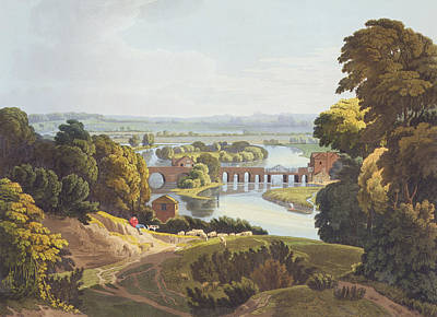 Extensive Landscape Drawing - Caversham Bridge, Near Reading by William Havell