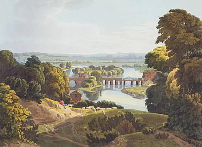 Sheep Drawing - Caversham Bridge, Near Reading by William Havell