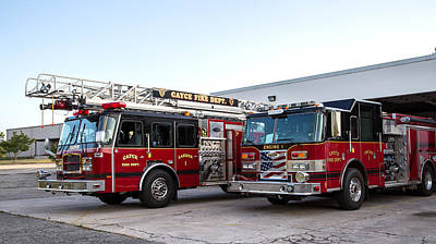 Photograph - Cayce Fire Trucks by Charles Hite