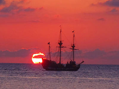 Pirate Ship Photograph - Cayman Sunset by Carey Chen