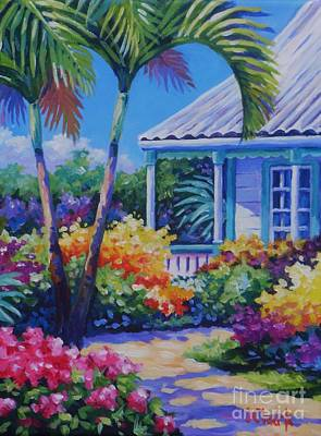Oleanders Painting - Cayman Yard by John Clark