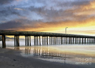 Photograph - Cayucos Pier Reflected Impasto by Sharon Foster