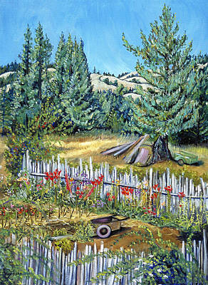Art Print featuring the painting Cazadero Farm And Flowers by Asha Carolyn Young