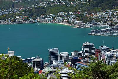 Tara Photograph - Cbd, Wellington Harbour And Oriental by David Wall