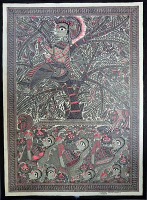 Indian Tribal Art Painting - Cbk 23 by Chandra Bhushan Kumar